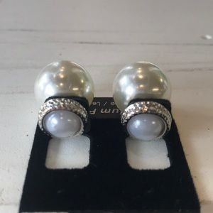 NWT Pearl CZ Stud Front & Back Earrings